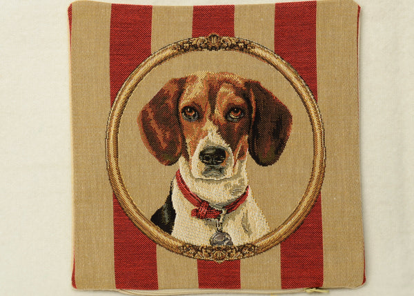 "Mini Tapestry Pillow Portraying a Beagle on Wallpaper Background - 10""x10"""