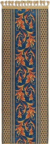 Belgian Woven Tapestry Table Runner with Ornamental Acanthus Rococo Style (Blue)