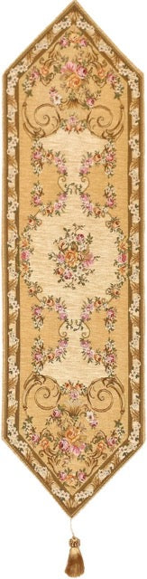 Jacquard Woven Tapestry Table Runner, Beige Floral Antique