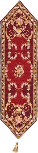 Jacquard Woven Tapestry Table Runner, Red Floral Antique