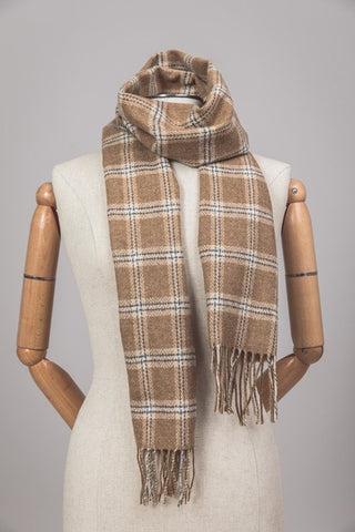 Lambswool Scarf in Light Brown and Beige from Foxford, Ireland