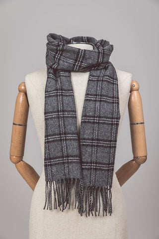 Grey and Black Checkered Lambswool Scarf from Foxford, Ireland.