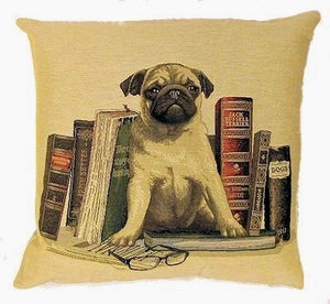 "Belgian Tapestry Cushion Cover of Pug with Books (Beige) 18""x18"""