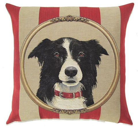 "Border Collie Cushion Cover - 18x18"" Belgian Tapestry Pillow"