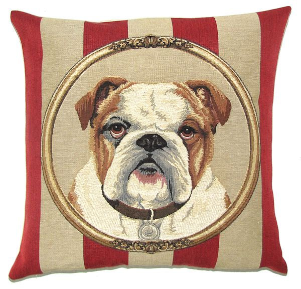 "Bulldog Cushion Cover - 18x18"" Belgian Tapestry Pillow"