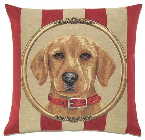 Golden Labrador Belgian Tapestry Cushion Cover - 18x18""