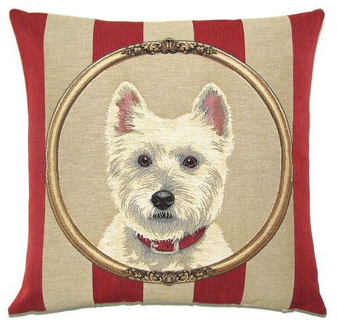 "Westie Terrier Belgian Tapestry Cushion Cover - 18""x18"""