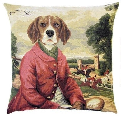 "Beagle Forest Fox Hunting Cushion Cover - 18x18"" Belgian Tapestry Pillow"