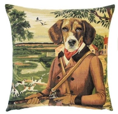 "Beagle Duke George Fox Hunter Cushion Cover - 18x18"" Belgian Tapestry Pillow"