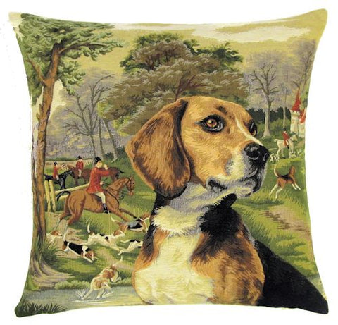 "Beagle Fox Hunter Cushion Cover - 18x18"" Belgian Tapestry Pillow"