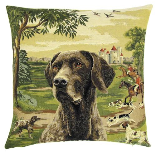 Black Labrador in Forest Fox Hunter Tapestry Cushion Cover
