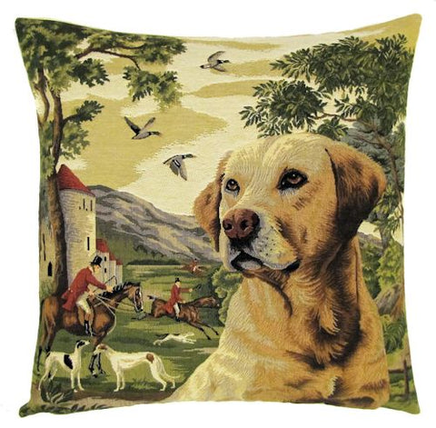 "Yellow Labrador Castle Forest Fox Hunting Belgian Tapestry Cushion Cover - 18""x18"""