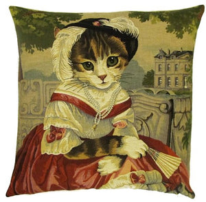 Belgian Tapestry Cushion Cover with Cat Portrait in Red Dress and Fan