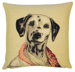 Lady Dalmatian Belgian Tapestry Cushion Cover - 18x18""