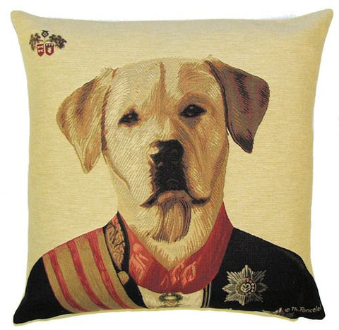 "Golden Labrador Cushion Cover - 18x18"" Belgian Tapestry Pillow"