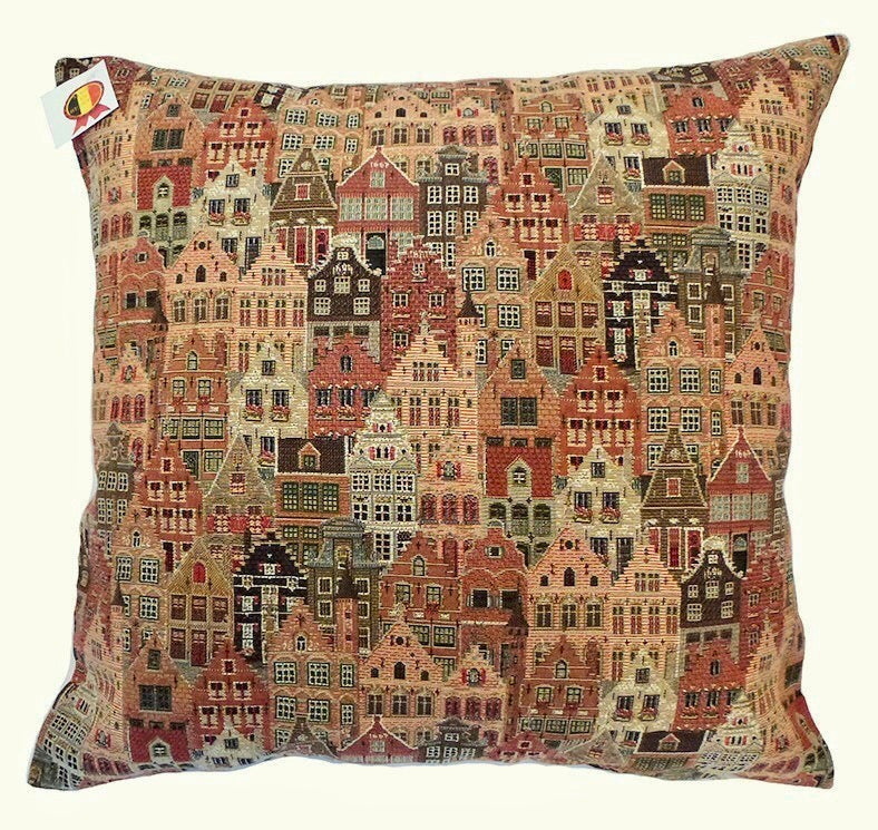 Belgian Tapestry Cushion Cover of European Houses/Facades (Pastel) 18x18""
