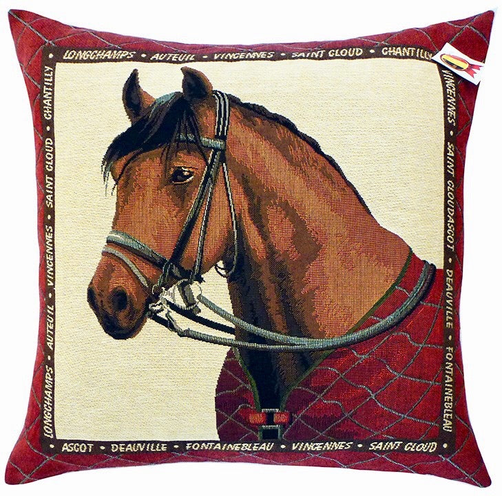 "Equestrian Theme Horse in Red Cushion Cover - 18x18"" Belgian Tapestry Pillow"