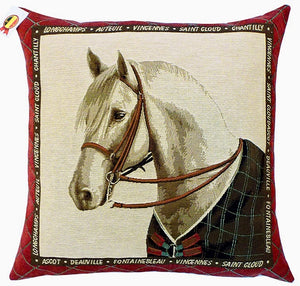 "Belgian Tapestry Cushion Cover - Equestrian Theme 18""x18"""