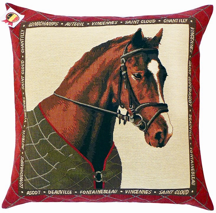 "Belgian Tapestry Cushion Cover - Equestrian Theme in Green 18""x18"""