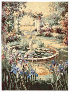 Jacquard Woven Belgian Wall Hanging Tapestry, Fountain Scene