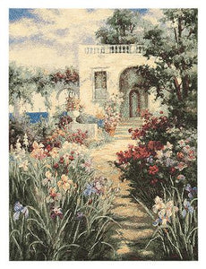 Jacquard Woven Belgian Wall Hanging Tapestry, Patio Scene