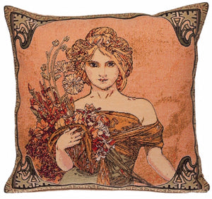 Belgian Tapestry Cushion Cover, Spring by Alphonse Mucha - 18x18""