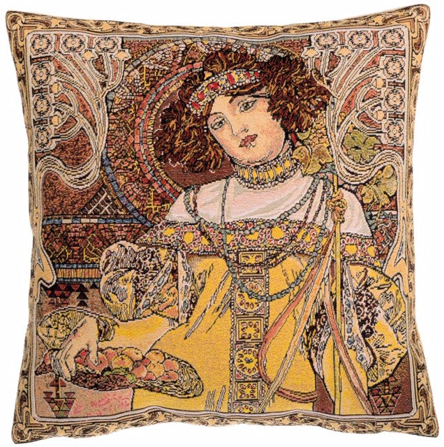 Belgian Tapestry Cushion Cover, Autumn by Alphonse Mucha - 18x18""