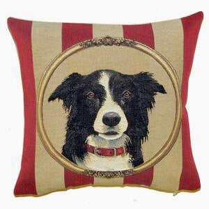 "Border Collie Cushion Cover - 14x14"" Belgian Tapestry Pillow"