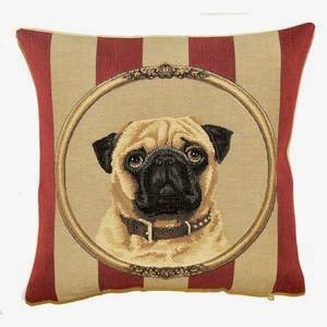 Belgian Tapestry Cushion Cover with Pug - 14x14""