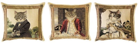 "A Series (Set) of Three Mini Pillows Portraying Aristocratic Cats by Susan Herbert - 10""x10"" Belgian Tapestry"