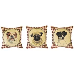 "A Series (Set) of Three Mini Pillows Portraying Dogs in Houndstooth Background - 10""x10"" Belgian Tapestry"