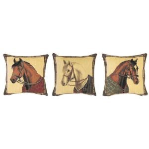 "A Series (Set) of Three Mini Cushions Portraying Horses - 10""x10"" Belgian Tapestry"