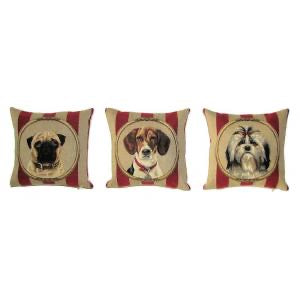 "A Series (Set) of Three Mini Pillows Portraying Dogs in Wallpaper Background - 10""x10"" Belgian Tapestry"