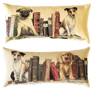 "A Set of Two Cushion Covers Portraying Dogs with Books (Library) Cushion Cover - 10""x18"" Belgian Tapestry Pillow"