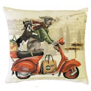 "Weimaraner and French Bulldog on Red Vespa Tapestry Cushion Cover - 14""x14"""
