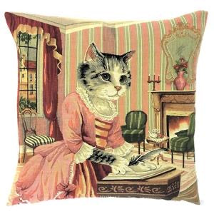 "Belgian Tapestry Cushion Cover with Seated Cat Poet Writing 18""x18"""