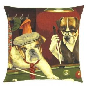 Dogs Playing Pool Belgian Tapestry Cushion Cover - 18x18""