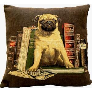 "Belgian Tapestry Cushion Cover of Pug with Books (Brown) 18""x18"""