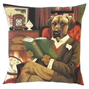 Belgian Tapestry Cushion Cover of Seated Dog Reading History 18x18""
