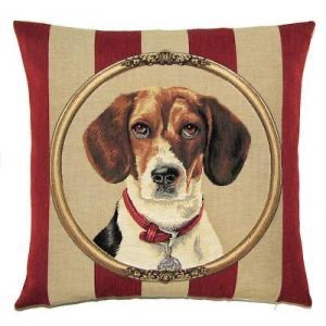 "Beagle Cushion Cover - 18x18"" Belgian Tapestry Pillow"