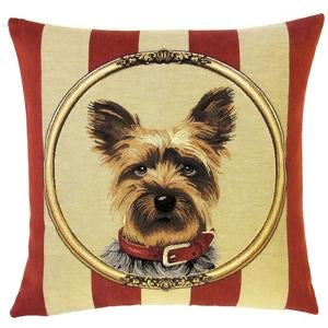 "Yorkshire Terrier Belgian Tapestry Cushion Cover - 18""x18"""