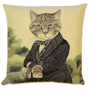 "Aristocratic Cat Jacquard Woven Gobelin Tapestry Cushion Cover by Susan Herbert - 18x18"" Belgian Tapestry Pillow"
