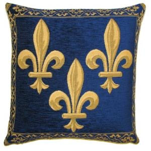 Belgian Tapestry Cushion Cover - Decorative Fleur de Lys in Blue - 18x18""
