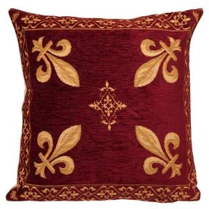 Belgian Tapestry Cushion Cover - Decorative Fleur de Lys in Burgundy - 18x18""