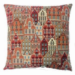 Belgian Tapestry Cushion Cover of European Houses/Facades 18x18""