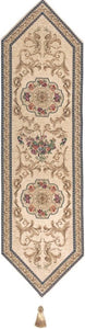 Jacquard Woven Tapestry Table Runner, Classic French (Beige)