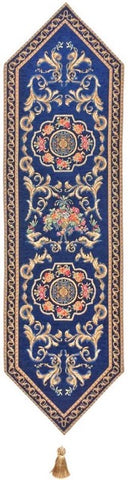 Jacquard Woven Tapestry Table Runner, Classic French (Blue)