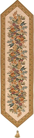 Jacquard Woven Tapestry Table Runner, Classic Floral (Beige)