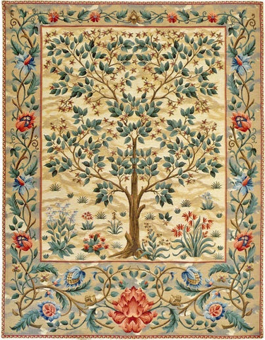 TREE OF LIFE by William Morris Belgian Wall Hanging Tapestry (Golden Beige)