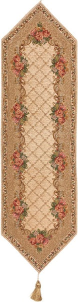 Jacquard Woven Tapestry Table Runner, Antique Floral Accents (Beige)